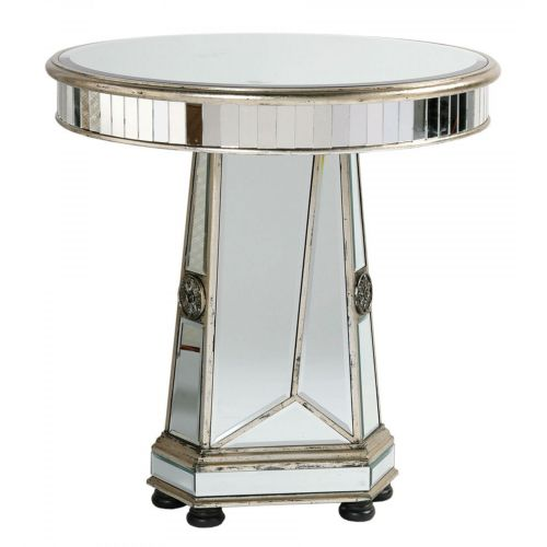 Vintage Venezia Antique Silver Mirrored Circular Occasional Table Large